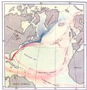ATLANTIC: Surface Currents in North. Red, warm. Blue, cold;1936 map
